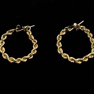 14K Gold Rope Chain Earrings (AAJ Signed)